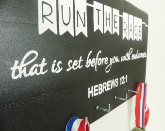 Run the Race with Endurance, Hand Painted Wooden Medal Display