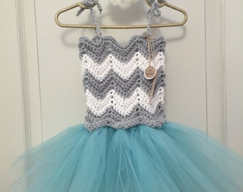 Crochet Tutu Dress - Chevron/Turquoise