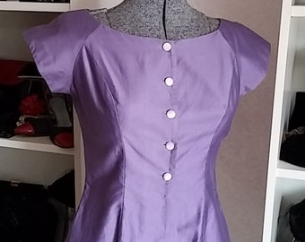 Clean, Vintage, 1960's, Alex Colman, Purple, Cotton, Sateen, Capped Sleeve, Blouse