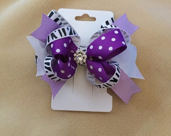 Purple and Zebra print hair bow