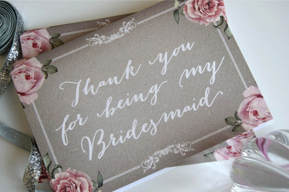 Personalised Bridesmaid and Maid of Honour Thank You Card