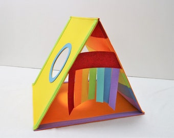 Cat house rainbow color Cat bed Cat teepee Cat cave Cat toy cat lover gift Play house Cat tent Triangle cat house