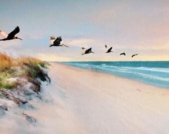 Beach Art, Beach Scene, Ocean, Pelican Fly-by, Pelicans, Coastal Art, Dunes, Oceanview, Beach Decor, Coastal Decor, Available on Canvas