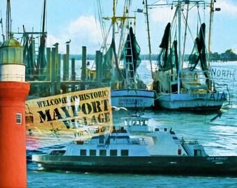 Via A1A, Mayport, Florida, Shrimpboats, Lighthouse, Ferryboat, St. John's River, Fine Art Print, Seascape, Nautical art, Coastal Decor