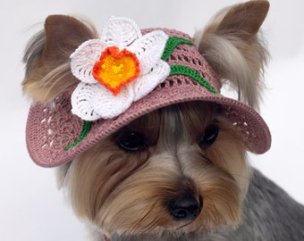 Hat for dog Narcissus/ Party hats for dogs / Crochet Dog Hat / Dog Top Hat / Dog Beanie / Dog Sun Hat / Puppy Hat / Caps For Dogs
