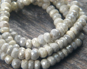 """High Quality Silverite Sparkling Opaque Mystic Coated 4mm Faceted Rondelle Beads - 13"""" Strand"""