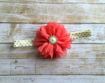 Coral & Gold Headband/Coral Headband/Baby Headband/Infant Headband/Baby Girl Headband/Toddler Headband/Girls Headband/Coral and Gold