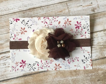Brown Baby Headband, Fall Headband, Thanksgiving Headband, Baby Headband, Newborn Headband, Baby Girl Headband, Infant Headband, Headband