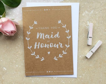 Rustic Maid of Honour Thank You Card