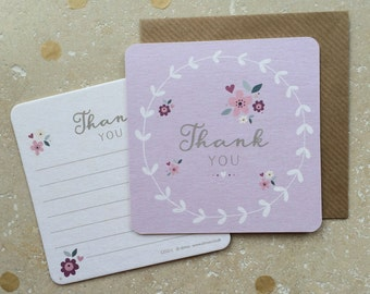 Floral Thank You Coaster Cards