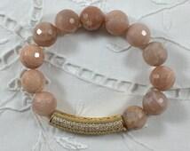 Faceted Sunstone Bead Bracelet