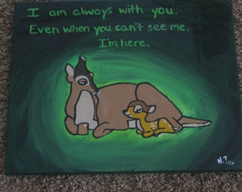 Bambi and mother canvas painting nursery