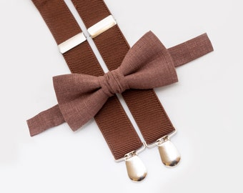 Brown Bow Tie and Brown Suspenders Boy Birthday Outfit Baby Bowtie Suspender Set