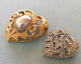 Heart Brooch Lot Silver Rhinestone Paste Jewels Gold Pin Vintage Hedy gold tone pearl heart shaped brooch