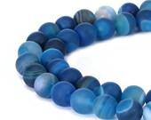 Matte Round Well Polish Blue Stripe Agate Gemstone Loose Beads 15.5 Inch per Strand, Size 6mm/8mm/10mm.R-M-AGA-0001