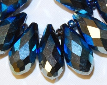 Beautiful Chinese Crystal Glass Faceted Drop Blue Loose Beads Wholesale.I-GLA-0409