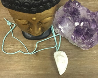 Raw white calcium stone pendant