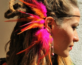 Natural feather headdress, ear cuff, bracelet Earr,Feather Ear Cuff, Hippie, Hair Headpiece, Festivals, OOAK, Ear Jacket, Feather Ear Wrap,