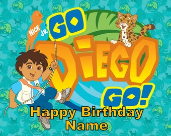 Go Diego Go Edible Image Cake Topper Personalized Birthday 1/4 Sheet
