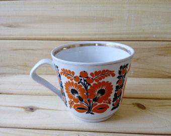 Vintage big cup Retro tableware  Soviet Vintage Cup Ukrainian Tradithional Ornament ceramics Kitchen décor  cup with floral