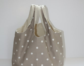Handmade Tote Bag made with a lovely dotty design fabric by Clarke and Clarke.