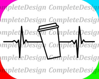 EKG Coffee Print Cut Files svg png dxf Instant Downloads