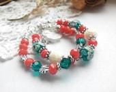 Woman's bracelet/Orange beaded Bracelet/Lampwork Jewelry/Beaded Bracelet/Beaded Jewelry/Rondelle bracelet/Crystal rondelles