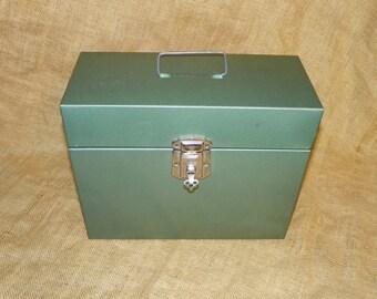 Metal File/ Storage Box Green with key, File Folder Metal Box