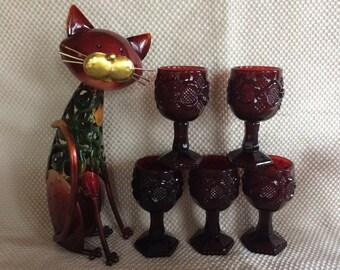 Vintage Avon ruby red cordial stemware Cape cod pattern