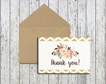 Printable Thank You Card, Instant Download, Digital File, Floral Card, Digital Thank You Card