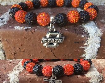 Oklahoma State University Inspired Bracelet with Choice of Silver Metal OSU Charm or Oklahoma State Charm