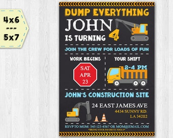 Construction invitation - Construction birthday invitation - Construction chalkboard invitation - Digger invitation