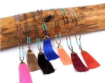 Colored Tassel Long Statement Necklace