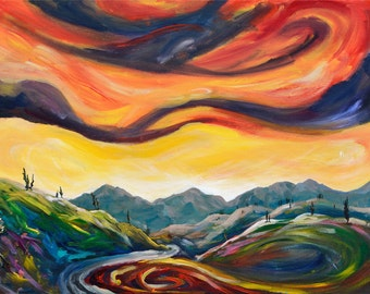 Tuscany Abstract Painting, Swirl Painting, Surreal Landscape, Emotions, Red Sky Painting, Original Acrylic Landscape Painting by Kokoszynska