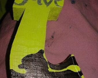 Handpainted wood Letter T