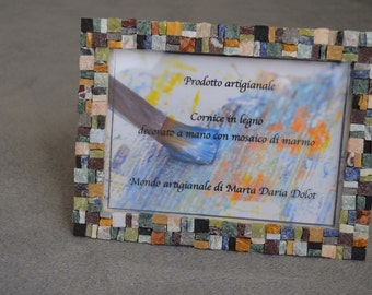 Hand decorated wooden picture frame with Marble Mosaic