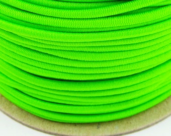 5, 10, 50 m rubber cord 3 mm neon green