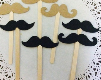 10 Black or Brown Mustache Cupcake or Food Sticks. Cupcake Topper.