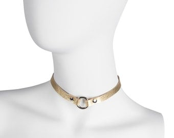 Gold leather choker, Leather collar, Chocker