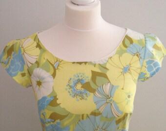 Yellow floral dress, retro yellow dress, vintage fabric dress, yellow summer dress, wedding guest dress, vintage style dress
