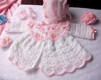 Baby matinee set crochet pattern. Newborn, 0-3, 3-6, 6-12 months in DK.