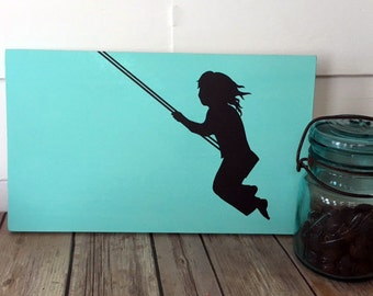 Nursery Decor, Girls Decor, Wooden Sign, Aqua, Black, Home Decor, Wall Art Baby Gift Birthday Gift