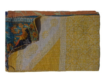Handmade Baby Blanket  ,Twin Size Quilt ,Vintage Kantha Quilt , Cotton Blanket ,Throw Beach Tapestry #107