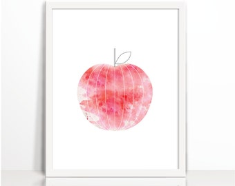 Red, Apple art print, kitchen art print, Scandinavian, Watercolor, Digital, Geometric Fruit, Art Printable, geometric art, original art,