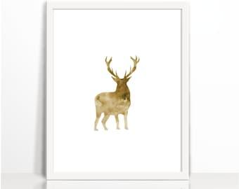 Watercolor Moose, Brown, Wild Moose Print, Mountain Animal Print, Woodlands Moose Print, Moose Printable, Moose Wall Art, Antler Print