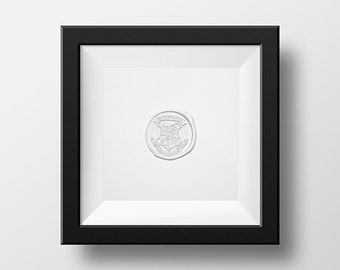 Harry Potter Art / Minimalist Photo of Hogwarts Wax Seal (WHITE) Inspired by Harry Potter / Gryffindor, Slytherin, Hufflepuff, and Ravenclaw