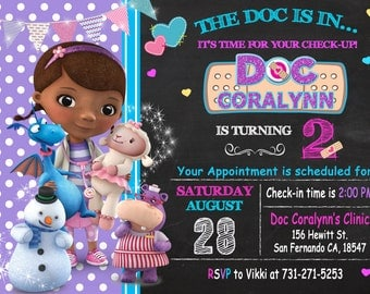 Doc McStuffins Invitation Printable, Doc McStuffins Birthday Party