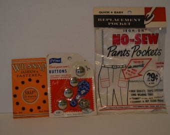 Vintage Fasteners, Buttons, and No-Sew Pants Pockets