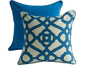 MODERN DECORATIVE PILLOW - Blue Pillow Cover - Modern Throw Pillow - Pillow With Trim/Piping/Welt & Zipper by P Kaufmann