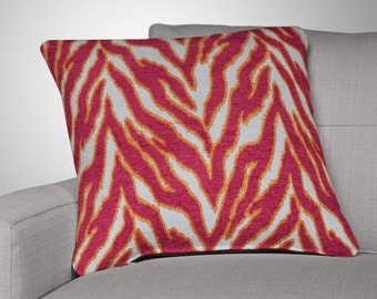 Robert Allen Throw Pillow Cover - Smooth Move Pillow Cover - Designer Pillow Cover- Zebra Throw Pillow Cover w/ Zipper- Fuchsia Throw Pillow